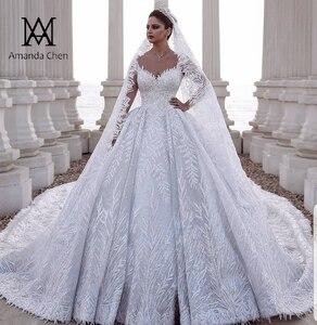 Image 1 - Роскошное Свадебное платье Дубая с кружевной аппликацией и длинным рукавом