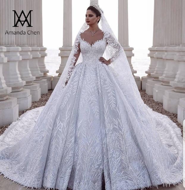 Роскошное Свадебное платье Дубая с кружевной аппликацией и длинным рукавом