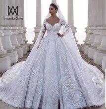 Abendkleider vestido de boda de lujo, manga larga, Apliques de encaje Dubai