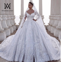 abendkleider Long Sleeve Lace Appliques Dubai Luxury Wedding Dress
