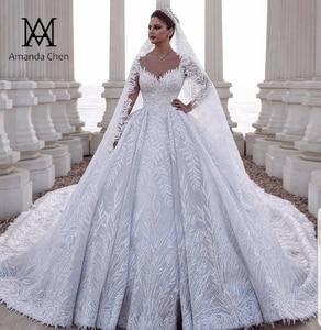 Image 1 - abendkleider Long Sleeve Lace Appliques Dubai Luxury Wedding Dress