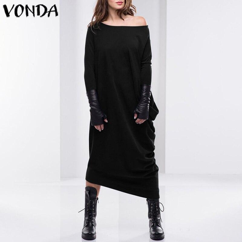 Women Autumn Dress 2019 VONDA Sexy Asymmetrical Dress Casual Loose Sweatshirt Long Sleeve Mid-Calf Sundress Party Vestido S-5XL