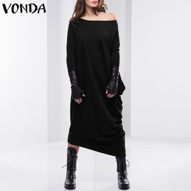 Women Autumn Dress 2020 VONDA Sexy Asymmetrical Dress Casual Loose Sweatshirt Long Sleeve Mid-Calf Sundress Party Vestido S-5XL