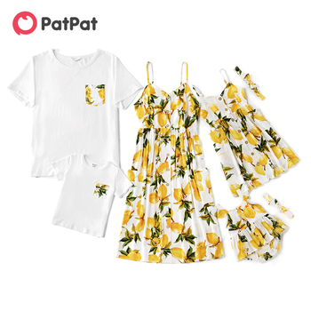 PatPat 2021 New Summer Mosaic Mommy and Me Lemon Tank Sleeveless Dresses for Mom - Girl - Baby knee length Side pockets