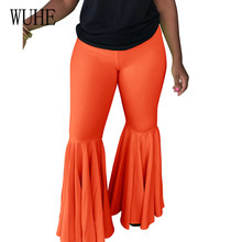 цена на WUHE Easy Chic Vintage Sexy Ruffles Trousers Women High Waist Female Flare Pants Elegant Frill Solid Elastic Skinny Clothing