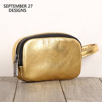 New Fashion Women Zipper Key Wallet First Layer Leather Handmade Car Key Case Top end Housekeeper Holder Keychain Money Bag Gold