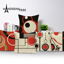 Modern Art Abstract Line Cushion Red Black Pillowcase Custom Linen Geometirc Cushions Sofa Home Decor Throw