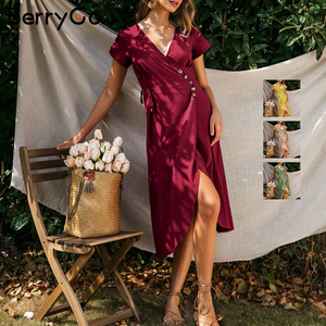 Image 4 - BerryGo Sexy v neck a line solid women dress Elegant ladies cotton slim fit bodycon dress Casual button wrap spring summer dress