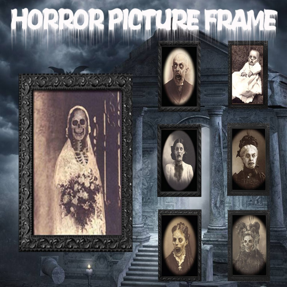 Halloween 3D Changing Face Picture Photo Frame Horror Ghost Lenticular Morphing Moving Face Zombie Vampire Theme Halloween Party Home Decor Decoration Ornanments Haunted Spooky Style 1