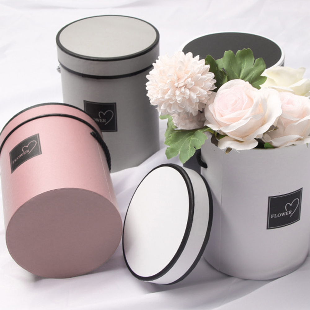 Round Box Ladies Presents Box Handheld Flowers Bouquet Paper Packing Case Lid Hug Bucket Flower Box Florist Gift Storage Boxes