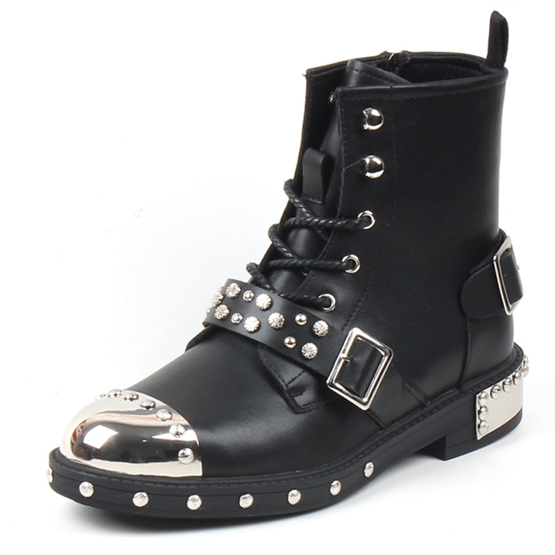 Spring Autumn  Men Fashion Ankle Boots Luxury Brand Men Metal Toe Rivets Punk Boots New Rock Shoes  5#15/15D50