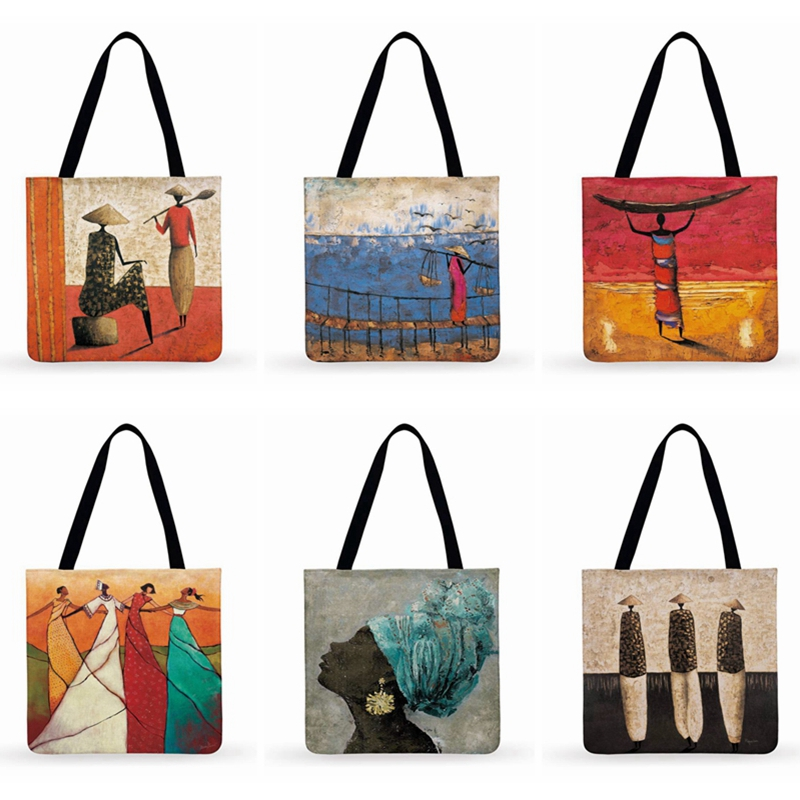 African Abstract Painting Art Printed Tote Bag For Women Casual Tote Clutch Bag Ladies Shoulder Bag Reusable Shopping Bag