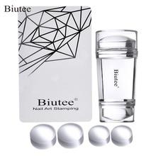Biutee Dual Clear Jelly Nail Art Stamper 4Pcs Silicone Heads with Rhinestone Cap & 1 Scraper Manicure Tool