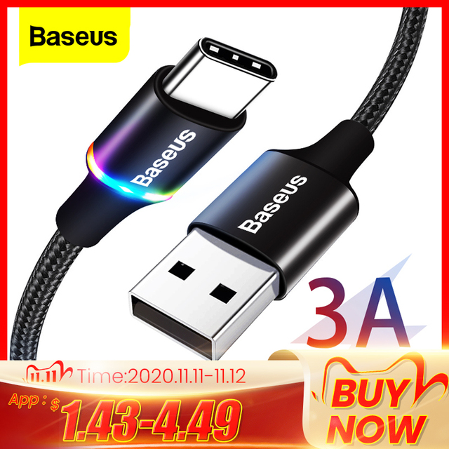 Baseus USB Type C Cable For Samsung S20 S10 Plus Xiaomi Fast Charging Wire Cord USB C Charger Mobile Phone USBC Type C Cable 3m
