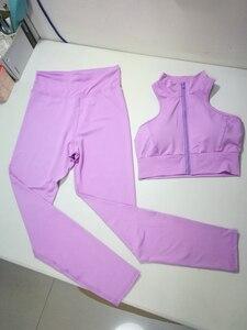 Image 5 - GXQIL Workout Sport Clothes for Women Sportswear 2020 Sport Gym Set Women Fitness Suit Dry Fit Ensemble Sport Femme Purple Kit