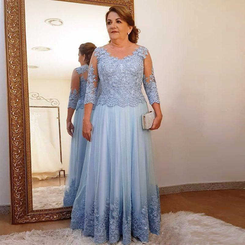 Grande taille mère de la robe de mariée pour la fête de mariage bleu clair dentelle Tulle 3/4 à manches longues dames formelle soirée robes de bal