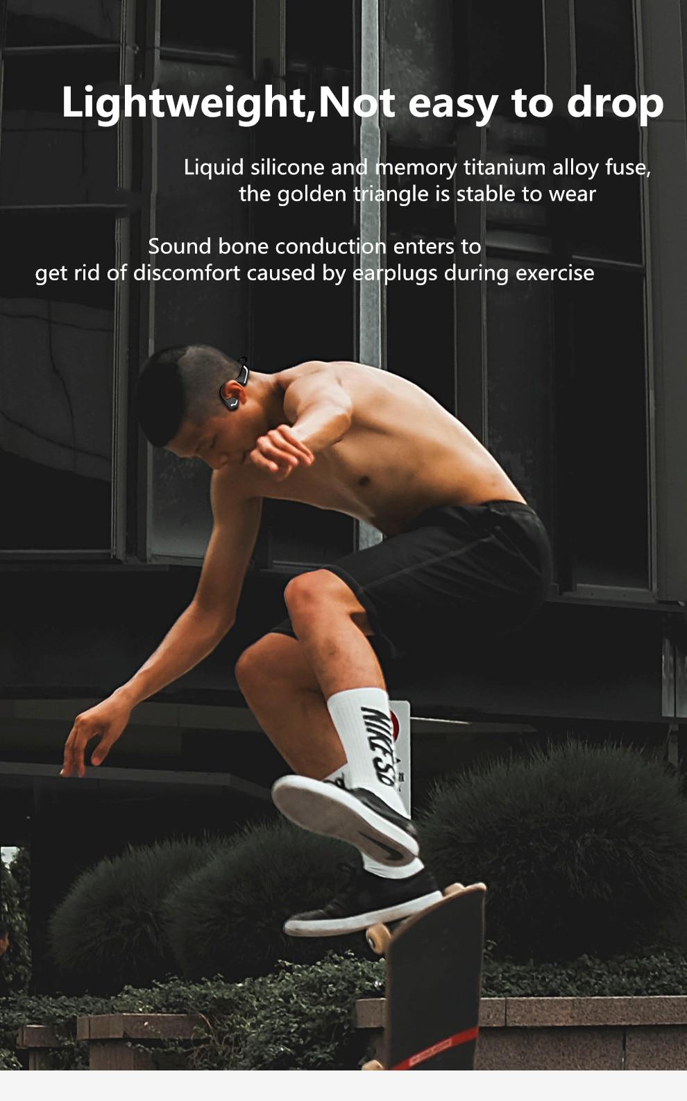 Condução óssea fones de ouvido bluetooth 5.0