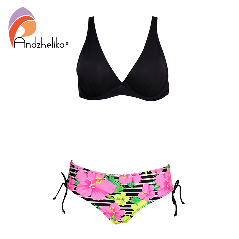 Andzhelika Sexy Bikini Set Women Solid Top Print Bottom Swimsuit Push Up Brazilian Bikinis 2020 Plus Size Two Piece Bathing Suit