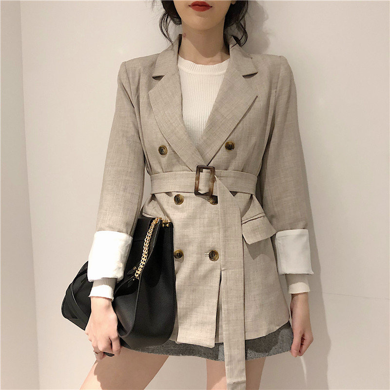 HziriP Apricot Feminine All Match Sashes Slender Plus Size Women Elegant Double-Breasted Office Ladies High Street Loose Blazers
