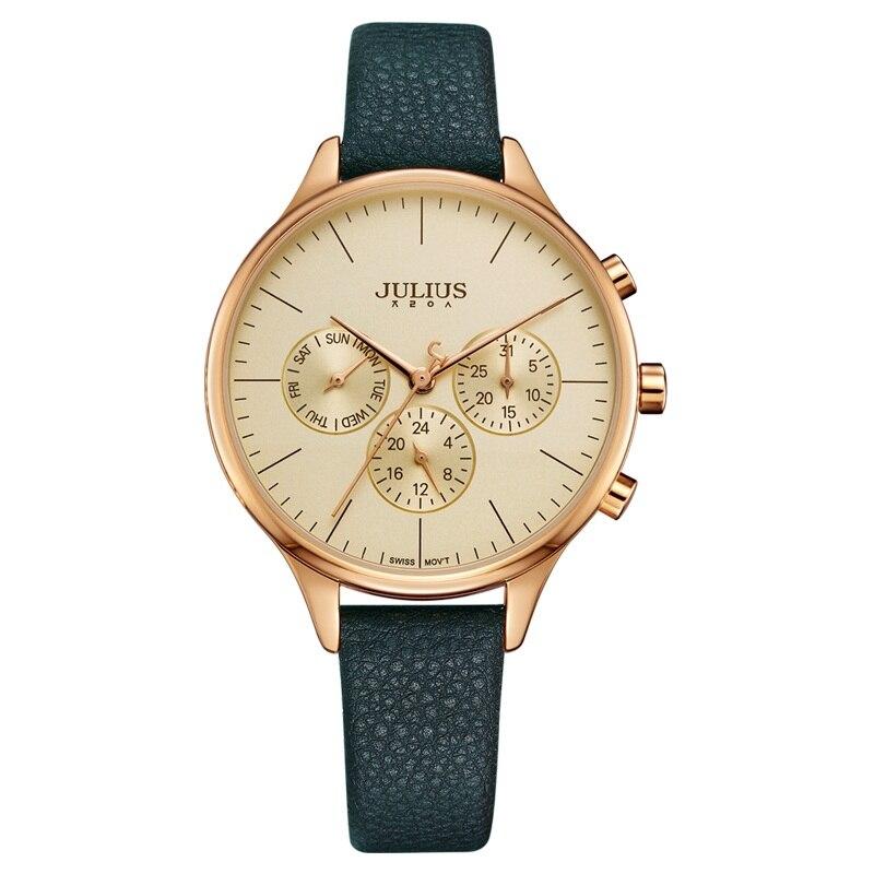 JULIUS Frauen Luxus Uhr chronographe Woche Datum Stoppuhr Silber or Rose Echtes Leder Business Uhr OL Geschenk joych JA-952