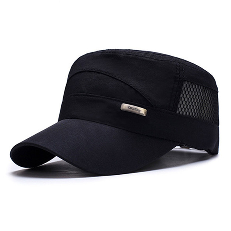 SILOQIN Adjustable Size Men 39 s Quick drying Military Hats Spring Summer Tourism Mesh Breathable Fashion Motion Flat Cap Snapback in Men 39 s Military Hats from Apparel Accessories