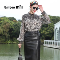 Spring New High End Silk Printed Shirt Street Style Stand Collar Hollow Embroidery Lace Splice Women Shirt S XL