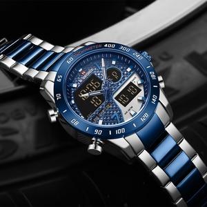 Image 1 - Mens Watches NAVIFORCE Waterproof Military Sports Quartz Full Steel Digital LED Wrist Watch Clock Male Relogio Masculino 2020