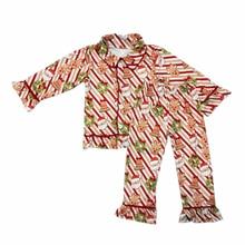 Одежда для детей в рождественском стиле; полосатый Колокольчик для елки с отложным воротником и кружевными манжетами; детский Пижамный костюм