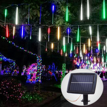 Solar Outdoor String Lights 360 LED Meteor Tube Outdoor Waterproof Fairy String Lightting for Garden Patio Yard Christmas Trees(China)