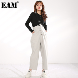 [EAM] High Waist Gray Button Stitch Long Leisure Trousers Overalls New Loose Fit Pants Women Fashion Spring Autumn 2021 1R58602
