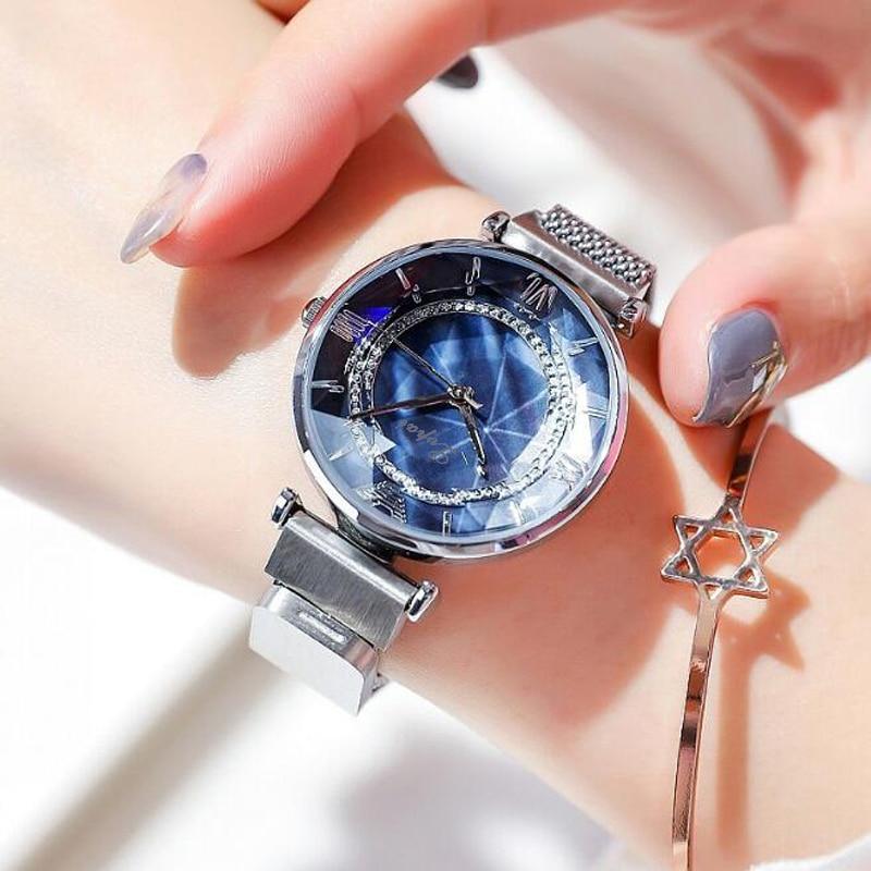 Luxury Ladies Watch Magnet Stainless Steel Mesh Marble Dial Fashion Diamond Female Luminous Shining Quartz Watch Relogio