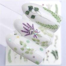1 pçs água prego decalque e adesivo flor folha árvore verde simples verão slider para unhas manicure arte do prego watermark dicas psak11