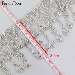 Image 5 - Gouttelettes en cristal à pampilles longues 1 yard et garniture de frange en strass argenté décoratif avec chaîne de strass, accessoires pour vêtements ML075