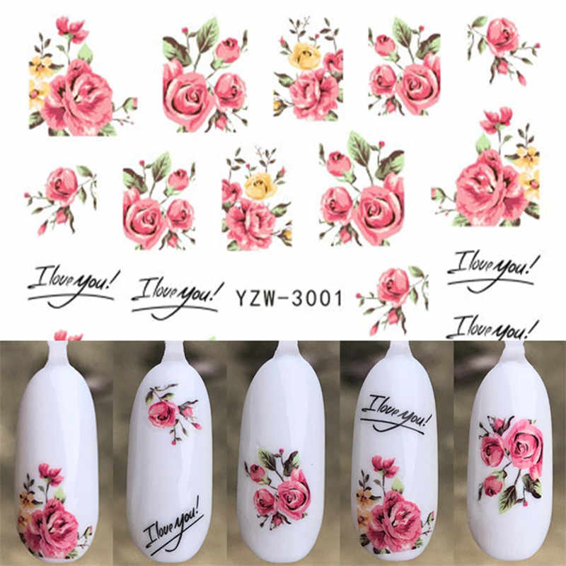 1 Sheet  Christmas Flower or unicorn Rose lavender Water Transfer Slider for Manicure Nail Art Decoration Nail Sticker