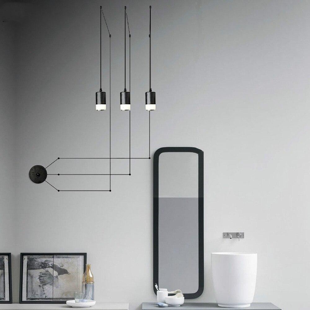Post-modern Iron Line Pendant Lights Living Room Modern Minimalist Geometric Line Lights Home Decor Hanging Lamp Light Fixtures
