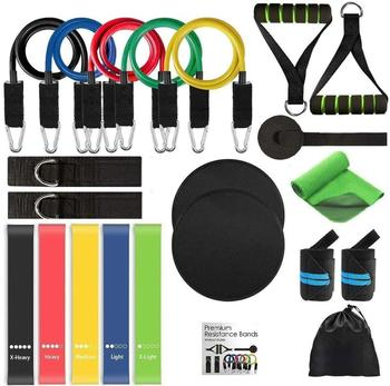 21Pcs/Set Latex Resistance Bands Gym Door Anchor Ankle Straps With Bag Kit Set Yoga Exercise Fitness Band Rubber Loop Tube Bands resistance band 11pc set with door anchor ankle straps foam handles