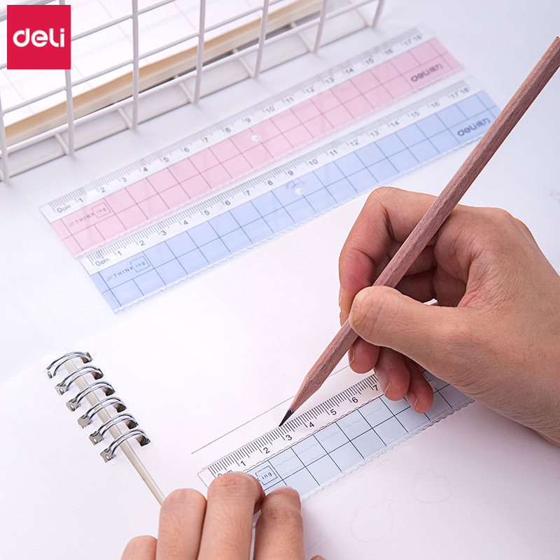 Deli Rulers 40pcs Acrylic Office Supplies Cute Transparent Straight Rulers 18cm Kawaii Stationery Drafting Tools Accessories
