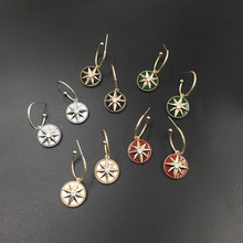 Octagon Star Circle Earrings temperament Joker  indian jewelry acrylic rhinestone luxury earrings for women