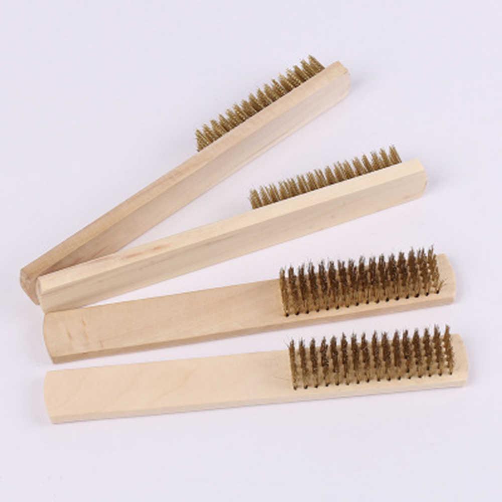 1 szt. Szczotki do czyszczenia drutu ze stali nierdzewnej uchwyt do drewna drut Scratch szczotka do kurzu powierzchnia/wewnętrzne polerowanie szlifowanie czyszczenie