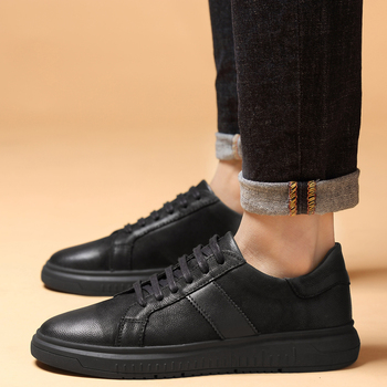 Men's Shoes Genuine Leather Black Sneakers Lace-Up Fashion Outdoor Walking Shoes Male Comfortable Spring Autumn Shoes Men Flats недорого