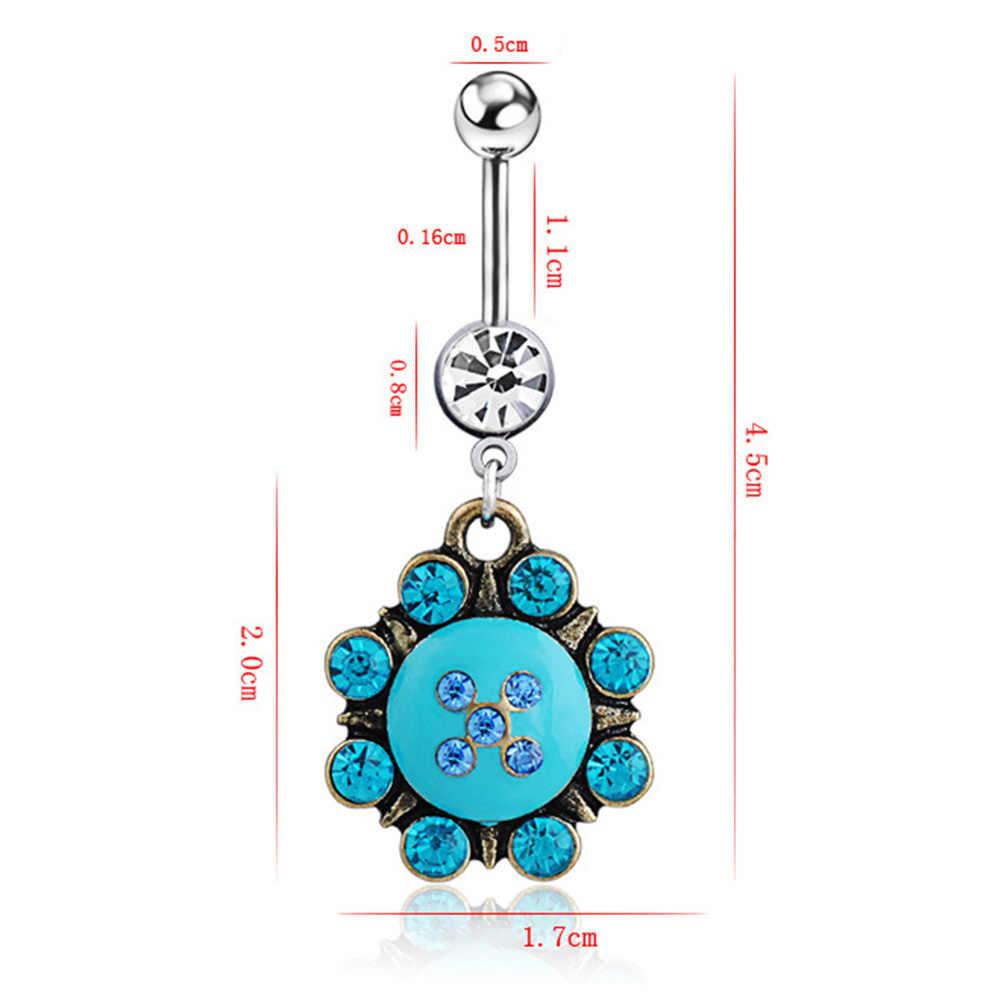 ดอกไม้ Dangle แหวนหน้าท้องแหวน Barbell เหล็กผ่าตัดสีฟ้าคู่คริสตัลเจาะเครื่องประดับของขวัญ