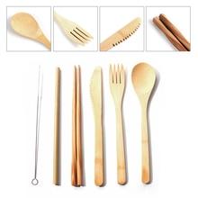 7pcs Portable Fork Spoon Knife Set Straw Kitchen Utensil Reusable Bamboo Cutlery Chopstics Dinnerware
