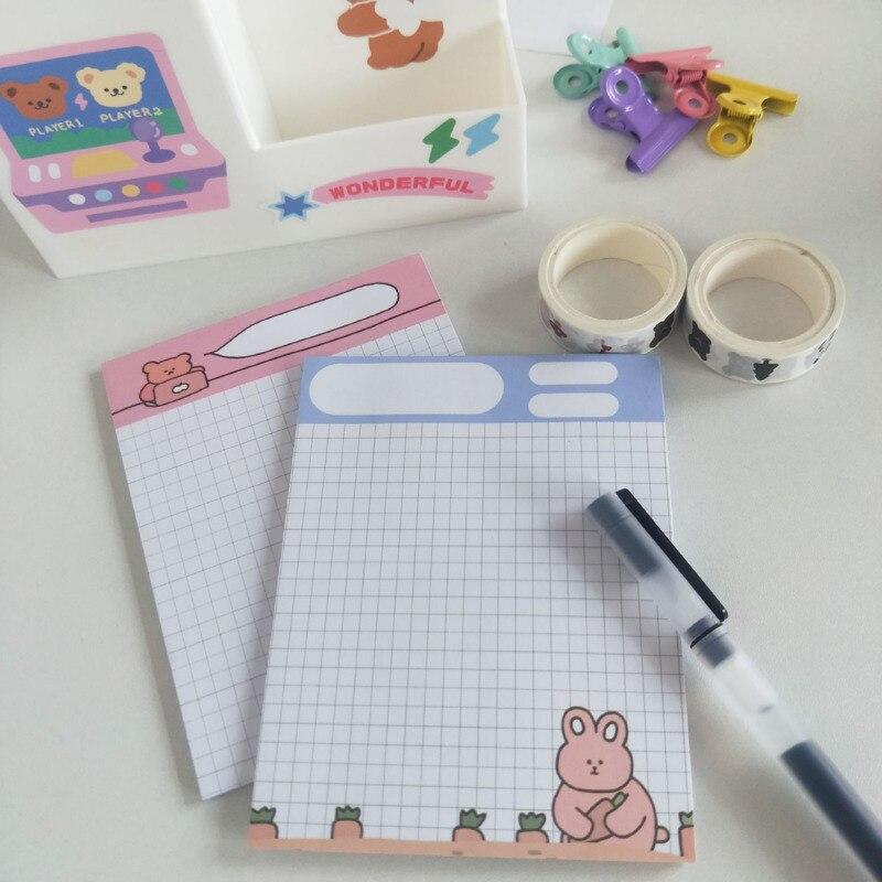 Ins Cartoon śliczne niedźwiedź królik notatnik 30 arkuszy siatki Mini Notebook lista rzeczy Do zrobienia kreatywny uczeń uczenia się nuty Kawaii biurowe