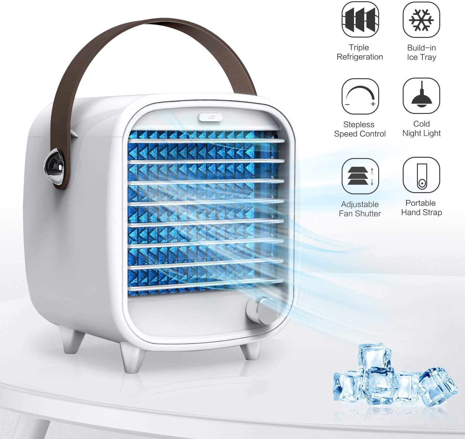 SMARTDEVIL Portable Air Conditioner Small <font><b>USB</b></font> Desktop Air Cooler Built-in Ice Box Cooling <font><b>Fan</b></font> Strong Wind Night Light Features image
