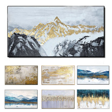 2020 Rushed Cuadros Decorative Wall Art And Prints 100% Hand painted Paintings, Gold Mountain Murals, Living Room Decoration