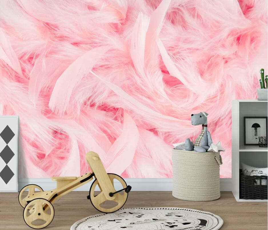 Beibehang Custom Wallpaper Photo Pink Feather Background Wall Home Decoration Cartoon Bedroom Children's Room 3d Wallpaper Mural