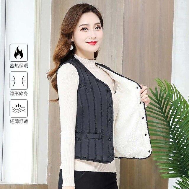 Women Sleeveless Vest Winter Warm Plus Size 4XL Down Cotton Padded Jacket villus Female Veats Slim fit Sleeveless Waistcoat 2