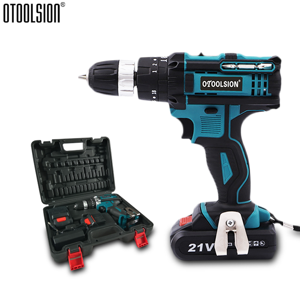 21V 45 N.M Impact Drill Battery Screwdriver Cordless Drill Screwdriver Impact Wireless Tools Drill Impact Metalworking+Tool Box