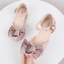 2020 New Children Kids Girls Princess Sandals Wedding Shoes High Heels Leather Shoes Bowtie Dress Shoes girls roman sandals for kids princess shoes summer fashion high heels soft leather children open toe sandal dress wedding party