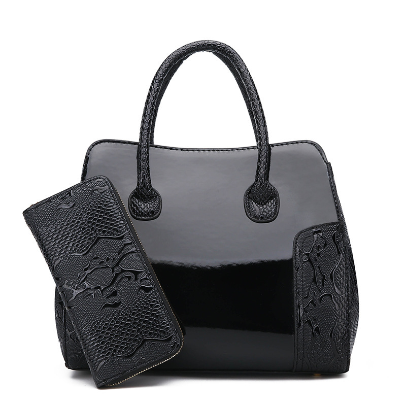 New Fashion Alligator Print Handbag Bright Surface One-Shoulder Crossbody Middle-aged Mommy Bag